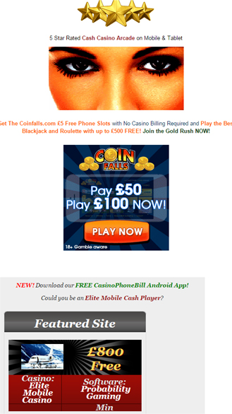 SMS Mobile Phone Casino Deposit